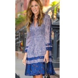 NWOT Rebecca Taylor Static Silk Blend Print Dress